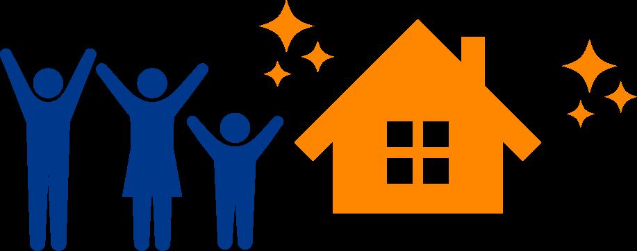 イラスト:人物と家